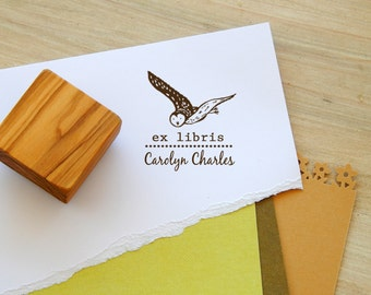 Custom Night Owl Ex Libris Olive Wood Stamp