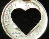 Heart Dime Hand Cut Coin Jewelry