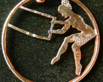 Trapeze Aerial Dancer Hand Cut Coin Jewelry