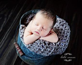 Chunky Baby  Blanket Newborn Baby Photography Prop  Blankets Photo Prop  Basket Filler Basket Stuffer  Gray