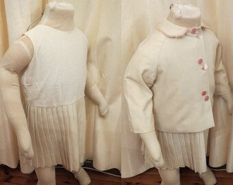Antique Vintage Handmade 30s 40s Girls Ivory Cream Dress and Jacket 2 Piece Suit Set