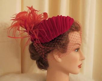 Handmade in Australia Vintage Cotton Red Velvet Ostrich Feathers 1920s Style Round Birdcage Fascinator Headpiece Hat