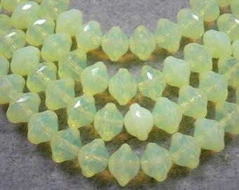 28 7mm Czech Glass Jonquil Yellow Opal Saturn Saucer Beads