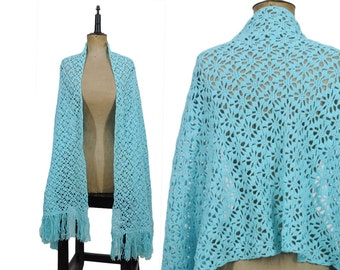Big Turquoise Blue 70s Open Knit Fringe Scarf / Fall Scarf