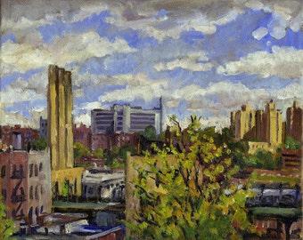 Towards the Bronx, Springtime NYC. Small Realist Oil Painting on Canvas, 8x10 Urban Plein Air Impressionist Fine Art, Signed Original