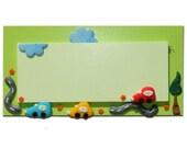 Personalized Children Wooden Door Sign- GREEN CARS, Handmade Polymer Clay welcome sign door