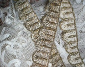 Hand done  Antique french metal embroidered trim 19th century, more