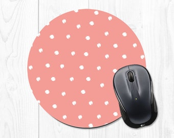 Mouse Pad - Office Accesories - Mousepad - Coral Mousepad - Pink Mouse Pad - Polka Dot - Cute Mousepad - Cute Mouse Pad
