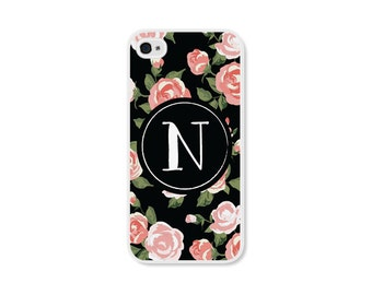 Gift for Mom Monogram iPhone 6 Case Floral iPhone 5 Case Floral Phone Case Monogram Samsung Galaxy S5 Gift for Coworker Monogram Phone Case