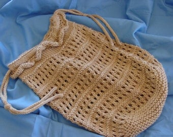 Hand Knit Market Bag in Tan