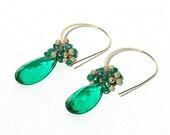 Green Caribbean Quartz Dangle Earrings / 14K Gold / Boho / Wire Wrapped / Modern Jewelry / Caribbean Green / Gifts For Her / OOAK