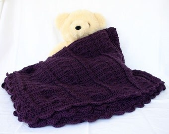 Crochet afghan purple lacy cables plum shells loops feminine large bedding blanket throw home decor lap violet orchid dark washable royal