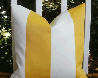 SALE ~ Yellow and Cream Cabana Stripe Outdoor Decorative 18 X 18 inch Accent Throw Pillow Cover