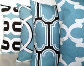 Blue Decorative Throw Pillow Covers, Cushions, Regatta Blue Off White Black Fargo Morrow Embrace Fynn, Couch Bed, Set of Four Various Sizes