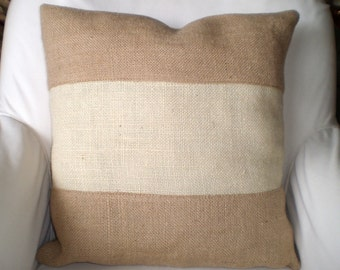 Burlap Throw Pillow Cover, Cushions, Tan Off White Color Block Sultana Burlap, Decorative Pillow, Burlap Pillow Cover, One or More 18 x 18