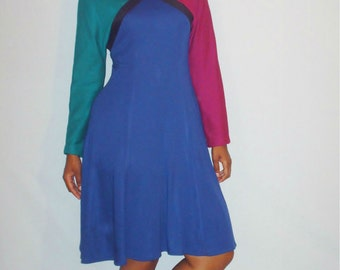 Vintage 1980s Color Block Sweater Dress