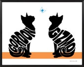 Personalized Pair of Cats Silhouette Print, Framed 11x14 Cat Name Art Picture, Two Cats