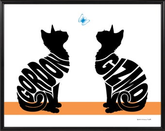 Personalized Pair of Cats Silhouette Print, Framed 11x14 Cat Name Art, Picture of Two Cats