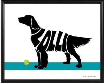 Personalized English Setter or Irish Setter Print, Framed 8x10 Dog Name Art, Setter Silhouette Wall Art