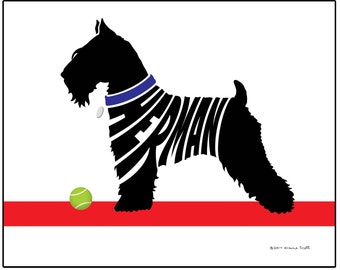 Personalized Miniature Schnauzer Silhouette Print, Schnauzer Name Art, Dog Breed Wall Decor, Dog Memorial Gift