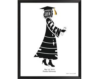 Personalized Female Graduate Print, Framed Graduation Gift, Custom Silhouette Name Art