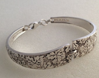Spoon Bracelet. Vintage Leaves Silverplate. Choose Your Size. 6 to 9.  Silverware Jewelry.