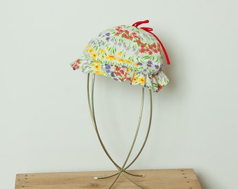 vintage 1970s baby girl's floral sun hat