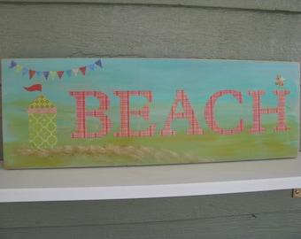 Peachy Beachy Cabana  Sign  Hand made