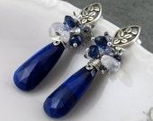 Long lapis earrings with moonstone, kyanite, sapphire, tanzanite and saltwater keishi pearls, OOAK sterling silver post earrings