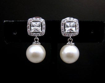 Bridal wedding earrings jewelry bridemaid gift 12mm off white pearl earrings with square princess cut cubic zirconia post earrings