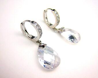 STERLING SILVER-bridal wedding earrings clear white teardrop cubic zirconia on cz hoop sterling silver earrings - Free US shipping