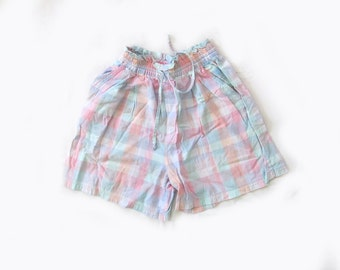 SALE vintage shorts 1980s pastel plaid ruffle waist cotton size small s medium m