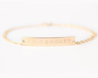 Nameplate Bracelet - Custom Hand Stamped Bracelet - 14k GOLD FILLED Horizontal Bar - Teacher Gift