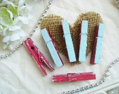 Cherry & Sky (Red/French Blue) Distressed Mini Clothes Pins with Sky Dust - Shabby Chic Set of 6