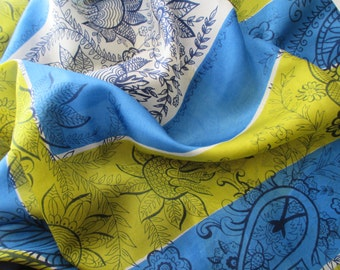 vintage silk scarf - floral, turquoise, chartreuse, navy blue