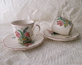 2 vintage Luneville -CUPS and SAUCERS - Made in France