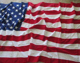 extra large 5' x 9.5' Best American flag- cotton bunting, Fourth of July, Memorial Day, embroidered stars