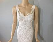Off White Hippie Crochet LACE Wedding Dress Mermaid Bohemian Wedding Dress Empire Waist Sheer Plunging Back M