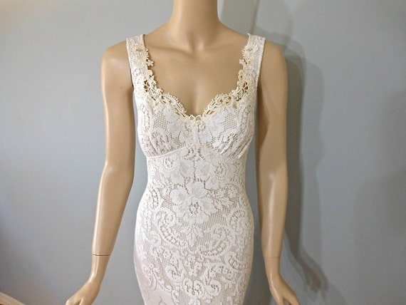 Off White Lace And Tulle Bridal Gown Simple Boho Wedding: Off White Hippie Crochet LACE Wedding Dress Mermaid Bohemian