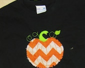 BOYS  pumpkin T-shirt  embroidered Black t shirt in orange chevron, thanksgiving, halloween, pumpkin patch fall