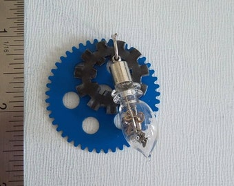 Industrial Steampunk Blue Gear Glass vial pendant