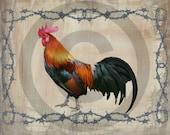 Primitive Digital Art - Rooster Label, Jar Candle Logo - Pantry Jar - Candle Crock, Rusty Cans - Label - JPEG File Instant Download
