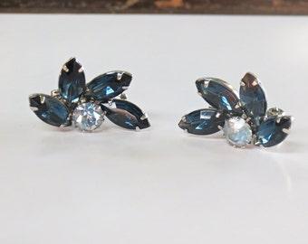 Sapphire Blue Rhinestone Clip On Earrings 1950s Fashions