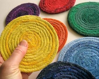 Scrappy Fabric Coasters - Rainbow Coaster Set - Chakra Mug Rugs - Free Shipping