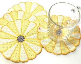 Fabric Coasters Embroidered Dresden Plate Coasters Yellow Dresden Plate Coasters Embroidered Fabric Coasters
