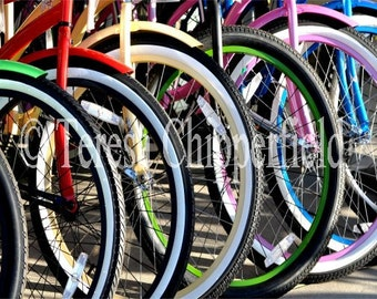 Kids Room Decor,Colorful Bike Photo,Pretty Bikes all in a Row, Bike Ride Print,Urban Home Decor, Red, Blue, Yellow, Pink Bicycles,8x12,16x24