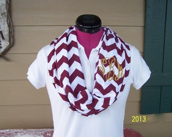 Monogrammed Maroon and White Chevron Infinity Scarf Knit Jersey