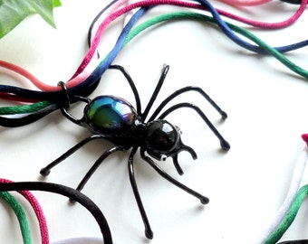 Black Spider Pendant with Colored Satin Cords Wire Art Bug Unique Gift for Bug Lovers Table or Wall Ornament Garden Art Custom Design
