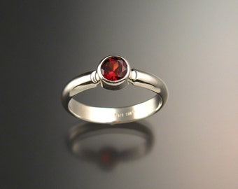 Garnet ring Sterling Silver handmade in your size