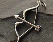 Bow and Arrow Charm - SALE, Choose From Sterling Silver or Natural Bronze - Archery, Hunter, Sportsman, Love, Cupid